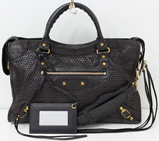 BALENCIAGA Classic Studs City Motocross Perforated Leather Shoulder Bag Black