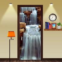 3D Waterfall Rock Stone Self-Adhesive Bedroom Door Murals Wall Sticker Decor