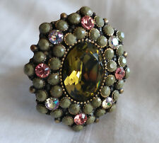 Michal Negrin Green & Coral Swarovski Crystal Large Elegant Ring NEW $121