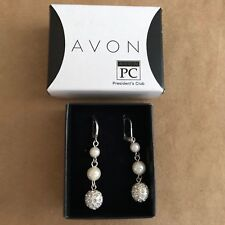 AVON President's Club Pearlesque Earrings Dangle Leverback 2011 ball orb