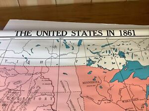 VTG Cram's Pull Down Wall Map of the United States In 1868 Homeschooling