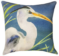 "PILLOWS - ""MAJESTIC BLUE HERON"" INDOOR OUTDOOR PILLOW - 18"" SQUARE - SHORE BIRDS"