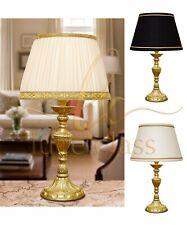 Lampada da tavolo comodino classica colonnina in ottone satinato con paralume.