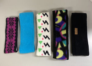 5 VINTAGE WOMENS WINTER HEADBANDS SOME FLEECE SOME WOOL ALL VERY GOOD CONDITION