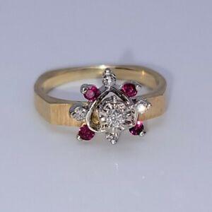 14K Yellow Gold Heart Shaped Ring 3.7 grams Rubies & Diamonds Size 6