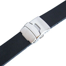 24mm Bonetto Cinturini 300L Mens Black Smooth Rubber Deployant Watch Band Strap