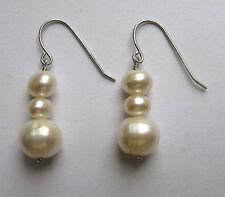 925 Sterling silver triple white Freshwater pearl drop earrings