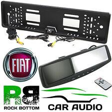 "FIAT 4.3"" Rear View Reversing Mirror Monitor & Car Number Plate Camera Kit"