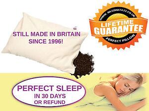 "PERFECT PILLOW ORGANIC BUCKWHEAT HUSK NATURAL SLEEP 28"" x 17"",GREAT BRITISH MADE"