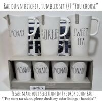 "Rae Dunn Pitcher, Tumbler Set (4) Melamine LEMONADE SWEET TEA ""YOU CHOOSE"" '19"
