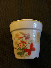 VINTAGE JAPAN INARCO WHITE FINE CHINA FLORAL SMALL FLOWER POT BOWL!