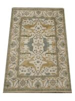 8X10 Oushak Hand-Knotted Wool Rug Ivory Oriental Carpet (8 x 9.11)