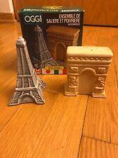 Vintage OGGI Salt & Pepper Set - Eiffel Tower and Arc de Triomphe Ceramic Paris