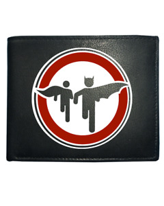 CAPED CRUSADER AND BOY WONDER ROAD SIGN- Comic inspired  Leather Wallet