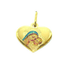 9ct Yellow Gold Laser Etched Madonna and Babe Heart Shape Pendant