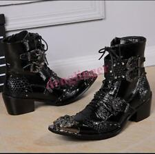 Punk Mens Metal Pointy Toe Ankle Boots Chunky Heel Buckle Rivet British Shoes Sz