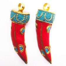 2pcs Indonesia Rare Earth Bronze Tibetan Silver Horn-shaped Pendant Bead z1980