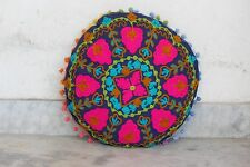 "Round Cushion Cover 16"" Suzani Embroidered Cotton Decorative Pillow Cases"