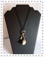 Magnifique Collier Fantaisie Cordon Enduit Noir Pampilles Bud to Rose 90 cm