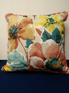 Floral Coral Pillow 18X18 with Fringe Edges