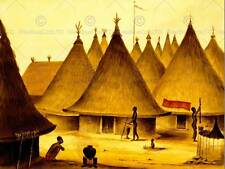 PAINTING NATIVE VILLAGE HUT COOKING STRAW HOUSE AFRICA ART PRINT POSTER CC747