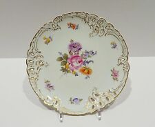 """Nymphenburg Porcelain Plate (1012) - Reticulated Floral Plate - 7.5"""" Dessert"""