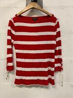 Vintage Lauren Ralph Lauren Long Sleeve Crew Neck Top Jumper Red White Striped S