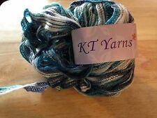 1 Skein KT Yarns Kuon Tai Ribbon Yarn Blues, White, Silver Sparkle Wool, Acrylic