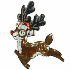 1pc Christmas Deer Sew-on Iron-on Patch Embroidered Appliques Craft Patches