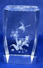 Fairy Swinging on Flower 3-D Laser Etched Crystal 3 1/4� x 2� x 2� Cube with Box