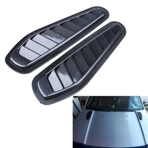 NEW 2X Carbon Style Hood Cover Car Decoration Air Flow Intake Scoop Bonnet Vent