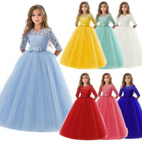 Lace Flower Girl Princess Wedding Bridesmaid Long Tulle Party Dress Formal Gown