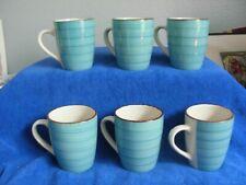 6 ROYAL NORFOLK TURQUOISE AQUA BLUE SWIRL STONEWARE COFFEE MUGS CUPS
