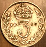 1916 UK GREAT BRITAIN SILVER THREEPENCE