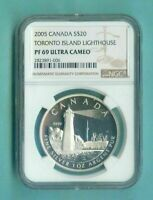 2005 CANADA $20 TORONTO ISLAND LIGHTHOUSE - NGC PF69 UC /w ALL PACKAGING  SILVER