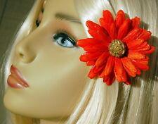 BEADED SMALL ORANGE SPARKLE DAISY CLIP, DAISY HAIR CLIP, DAISY HAIR FLOWER
