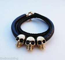 Gothic Punk Biker style Gold Skulls on Black Leather Necklace or Bracelet