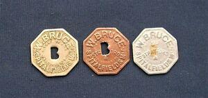 Three Vintage W Bruce, Spitalfields Market Metal Tokens C1930/40s - 10/- to 1/-