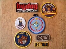 LOT OF 7 OLD PATCH PATCHES VINTAGE BOY SCOUTS DARTS MOTORCYCLES GARFIELD COOL