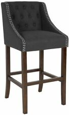 """Flash Furniture Carmel 30"""" Tufted Bar Stool in Charcoal and Walnut New"""
