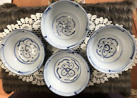 """4 MADE IN CHINA NOODLE BOWLS WITH DECORATIVE DESIGN 6"""" Wide"""