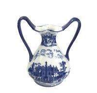 Vintage English Blue Willow Grecian Double Handle Vase Porcelain Mid Century