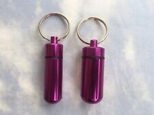 Two PURPLE Aluminum Pill Box Bottle Bottles, w/ screw top & Key Ring