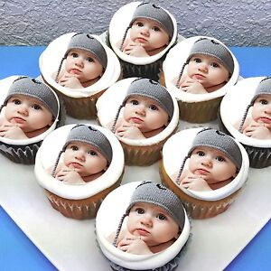 Photo Personalised Pre-cut Edible Icing Cupcake Toppers - Sheet of 15