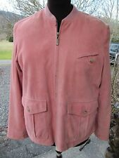 COLE HAAN COUNTRY ROSE ROUGE PINK SOFT SUEDE ZIPPERED FRONT LINED JACKET - LARGE