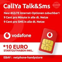 10€ Vodafone Talk&SMS Sim Karte CallYa 9 Cent Prepaid Handy Card D2