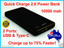 Super Slim Quick Charge QC 2.0 10000mAh Portable Charger Power Bank Type-C