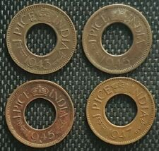 1943-47 India One Pice (One Paisa) coin, VF,4pcs (plus FREE 1 coin) #D8904