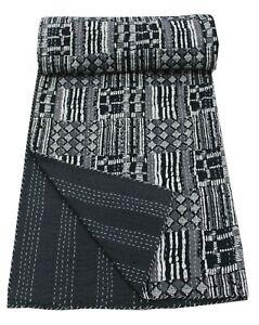 Ikat Print Kantha Quilt Bedspread Indian Handmade 100%Cotton Blanket Queen Black