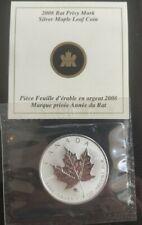 """2008 1 oz.9999 Canadian Silver Maple Leaf Coin /""""Rat privy mark /"""" sealed cellophn"""